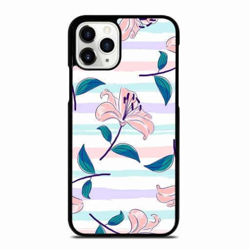 BLOOMING PINK LILIES ON A PASTEL STRIPED BACKGROUND iPhone 11 Pro Case