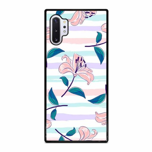 BLOOMING PINK LILIES ON A PASTEL STRIPED BACKGROUND Samsung Galaxy Note 10 Plus Case