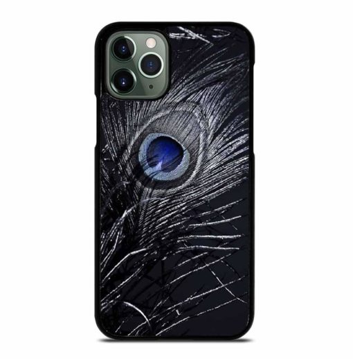 BLUE ON DARK PEACOCK FEATHER iPhone 11 Pro Max Case