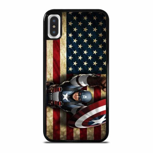 CAPTAIN AMERICA AND FLAG iPhone X/XS Case Cover
