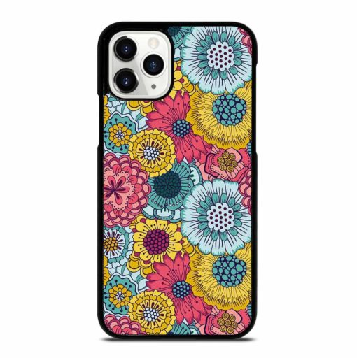 COLORFUL VINTAGE TEAL RED YELLOW FLORAL SHADING iPhone 11 Pro Case