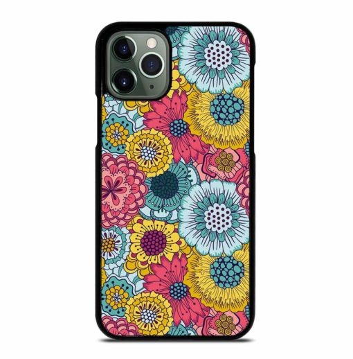 COLORFUL VINTAGE TEAL RED YELLOW FLORAL SHADING iPhone 11 Pro Max Case