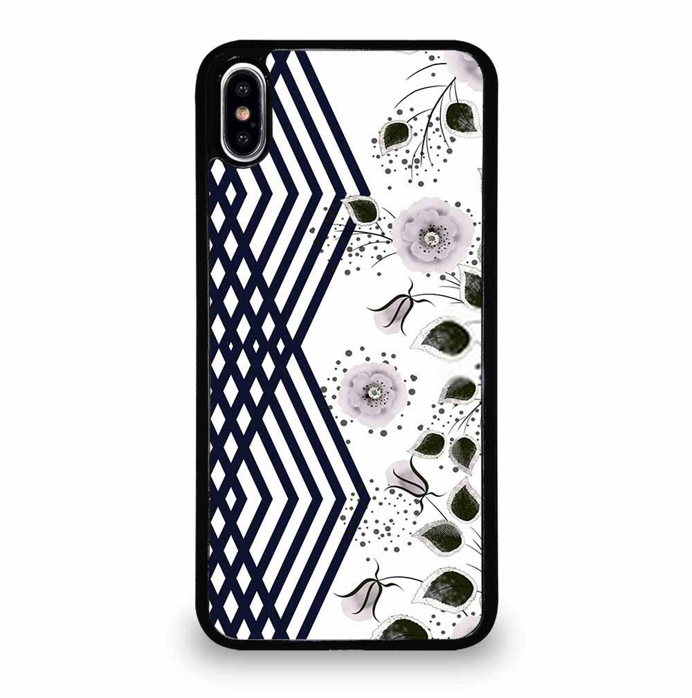 DECORATIVE GRAY PINK FLOWERS STRIPES iPhone XS Max Case