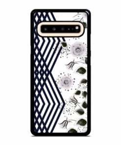 DECORATIVE GRAY PINK FLOWERS STRIPES Samsung Galaxy S10 5G Case