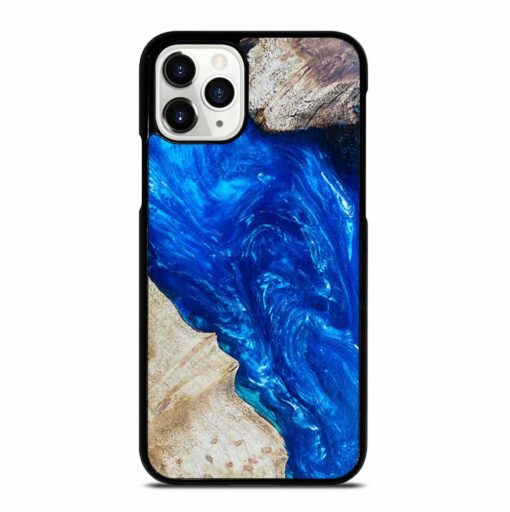 EPOXY CASTING STABILIZING ABSTRACT BLUE WOOD iPhone 11 Pro Case
