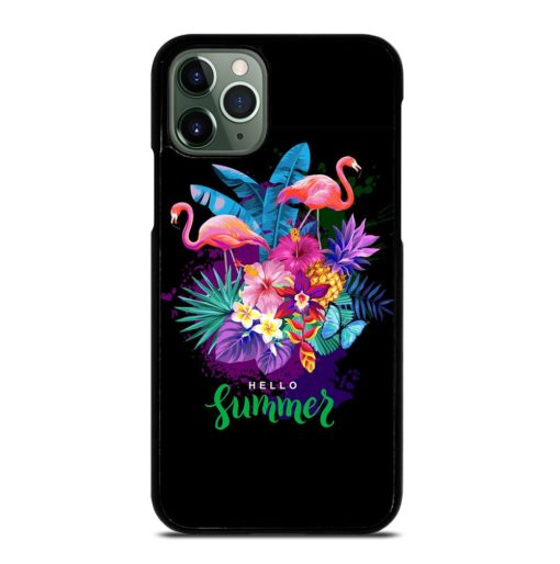 EXOTIC FLOWERS TROPICAL SUMMER FLAMINGOS iPhone 11 Pro Max Case