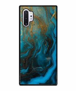 GOLD AND BLUE INCLUSION ACRYLIC FLUID ART AQUAMARINE WAVES Samsung Galaxy Note 10 Plus Case