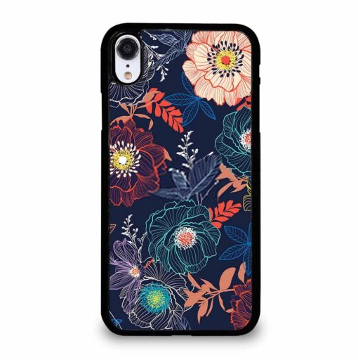 LINE HAND SKETCH BLOOMING GARDEN FLOWER CONTRAST COLORFUL iPhone XR Case