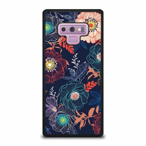 LINE HAND SKETCH BLOOMING GARDEN FLOWER CONTRAST COLORFUL Samsung Galaxy Note 9 Case