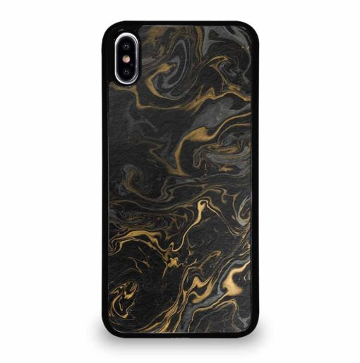 MARBLE INK PAPER TEXTURE BLACK GREY GOLD iPhone XS Max Case