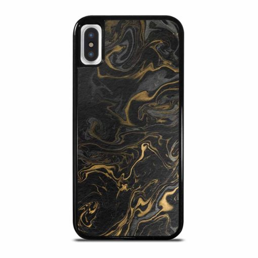 MARBLE INK PAPER TEXTURE BLACK GREY GOLD iPhone X/XS Case