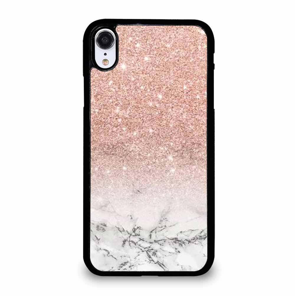 MODERN FAUX ROSE PINK GLITTER OMBRE WHITE MARBLE iPhone XR Case Cover