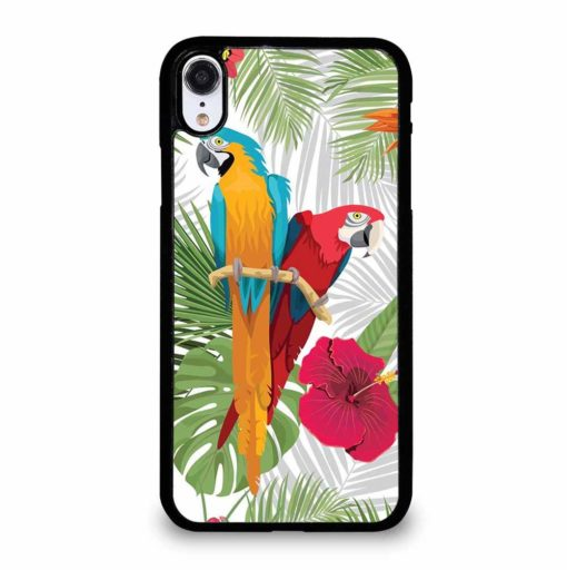 PARROTS AND TROPICAL FLOWERS iPhone XR Case