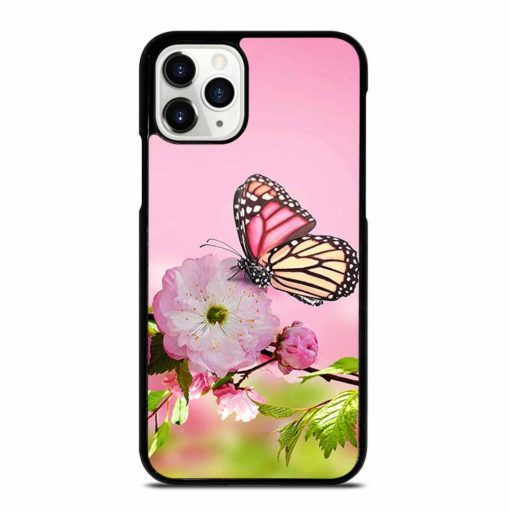 PINK FLOWER AND BUTTERFLY iPhone 11 Pro Case