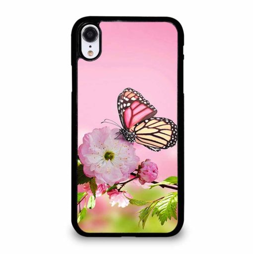 PINK FLOWER AND BUTTERFLY iPhone XR Case