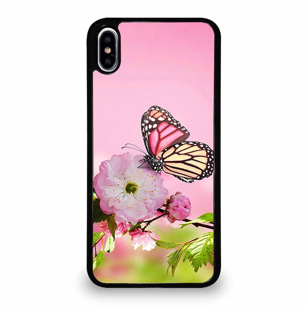 PINK FLOWER AND BUTTERFLY iPhone XS Max Case