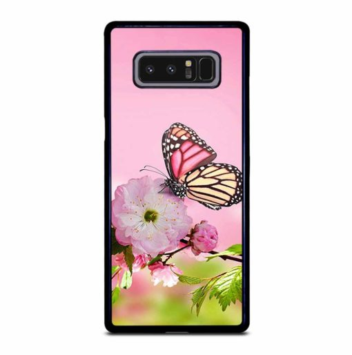 PINK FLOWER AND BUTTERFLY Samsung Galaxy Note 8 Case