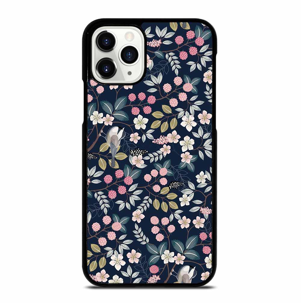 SEAMLESS FLORAL PATTERN WITH CUTE BIRDS iPhone 11 Pro Case