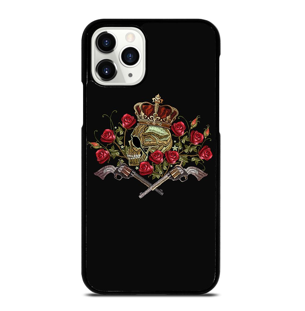 Skull Crossed Guns and Roses iPhone 11 Pro Case