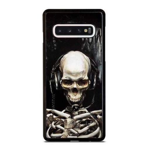 SKULL LISTENING TO MUSIC Samsung Galaxy S10 Case Cover
