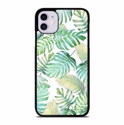 TROPICAL PALM LEAVES IN LIGHT GREEN-YELLOW COLOR TONE iPhone 11 Case