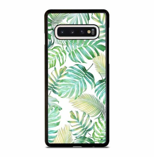 TROPICAL PALM LEAVES IN LIGHT GREEN-YELLOW COLOR TONE Samsung Galaxy S10 Case