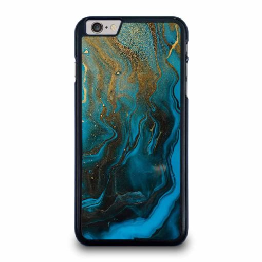 GOLD AND BLUE INCLUSION ACRYLIC FLUID ART AQUAMARINE WAVES iPhone 6 / 6s Plus Case Cover